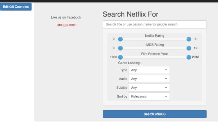 Netflix Online Global Search Database