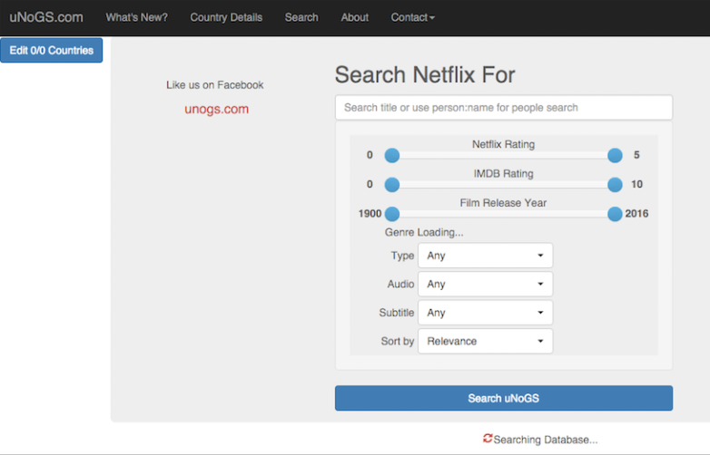 Netflix Online Global Search Database