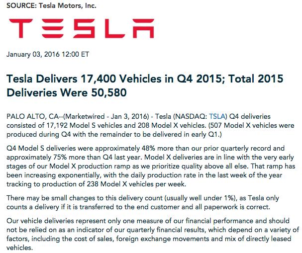 tesla model s press release sales