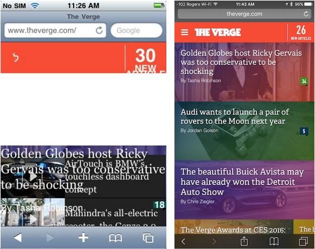 verge website iphone original