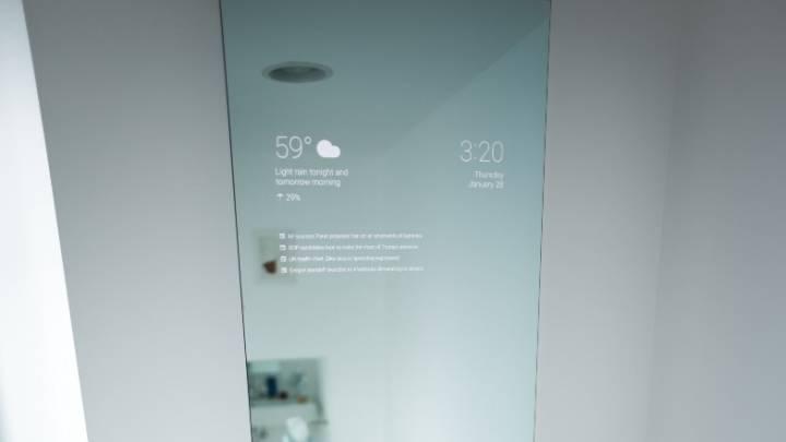Android Google Now Bathroom Mirror