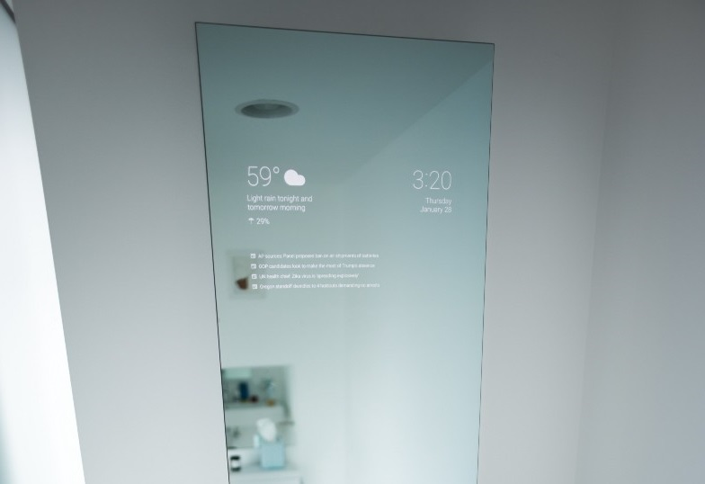 Android Google Now Bathroom Mirror