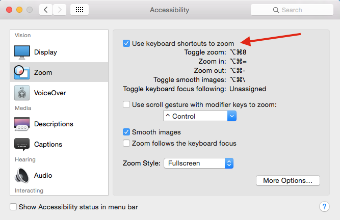 ios zoom toggle