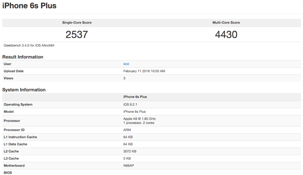 iPhone 6s Plus Geekbench 3 benchmark