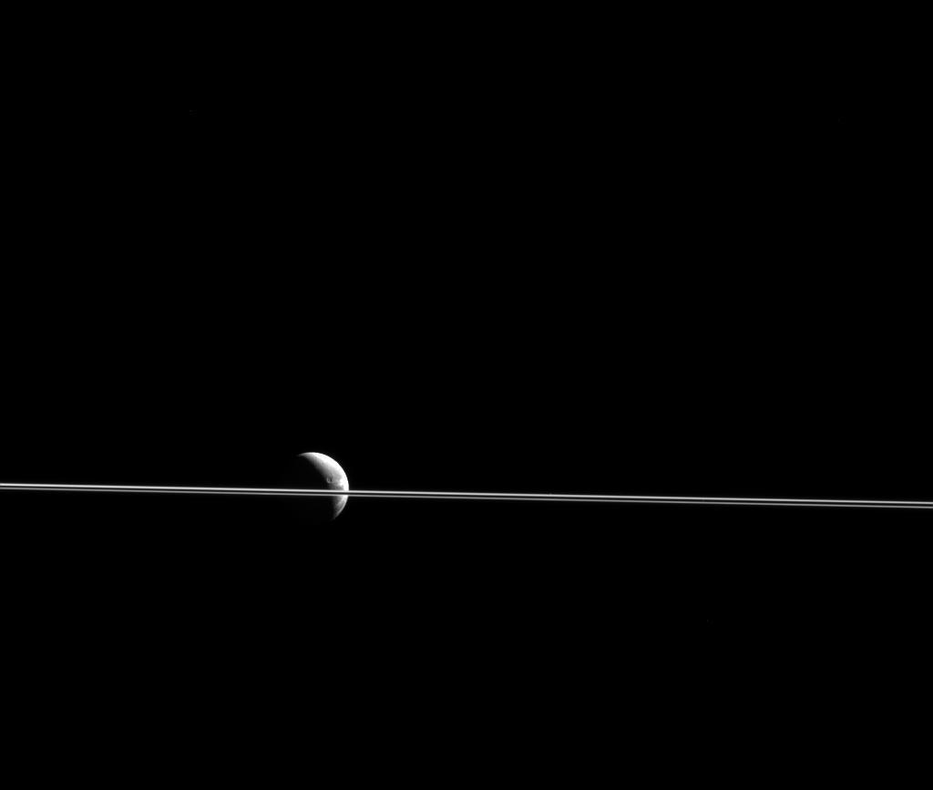 Saturn Rings Dione Moon NASA Photo