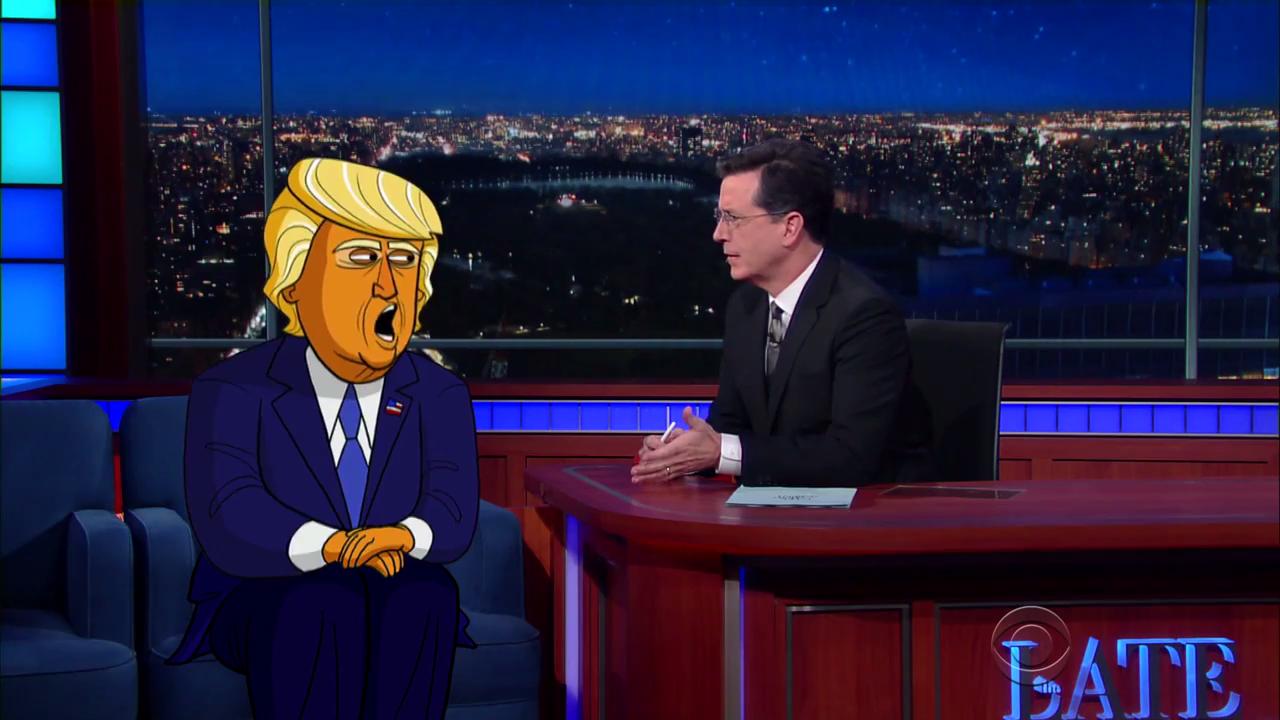 Late Show Colbert Cartoon Trump