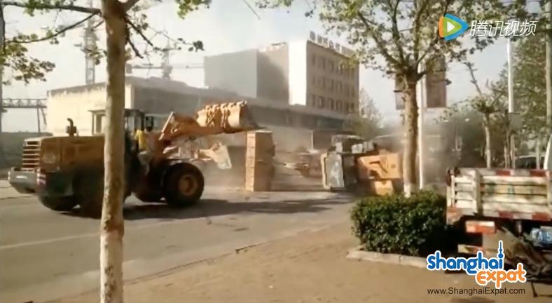 Bulldozers Fighting Street China