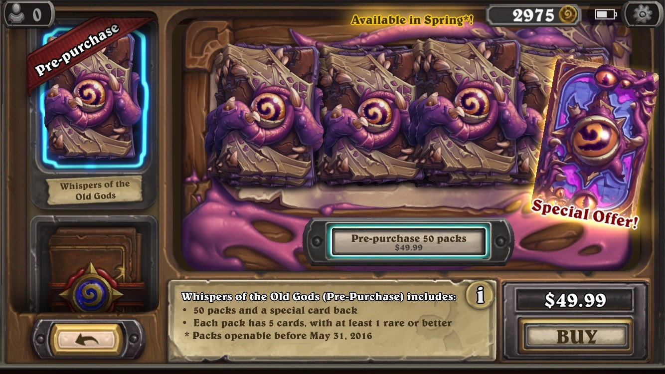 Hearthstone Whispers of the Old Gods Free Packs