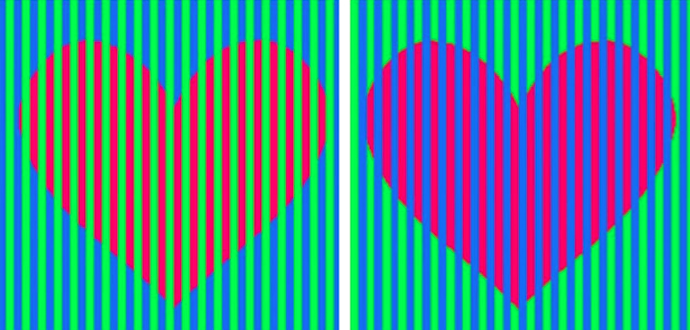 Hearts Color Optical Illusion