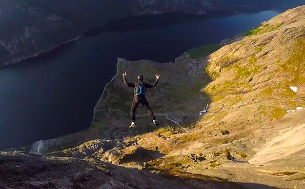 Drone footage of BASE Jumpers in Norway is positively insane