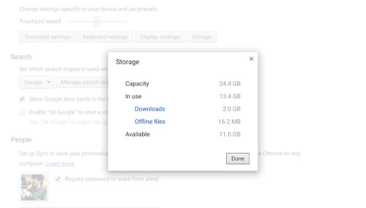 Chrome OS Free Space