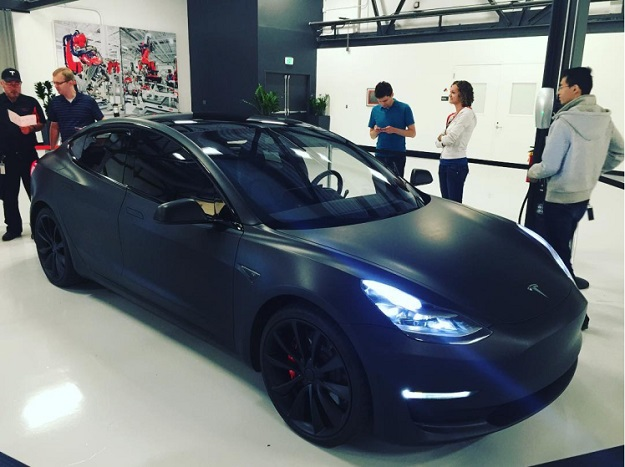 model 3 black matte tesla hq