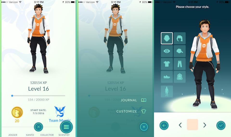 Pokemon Go Customize Avatar