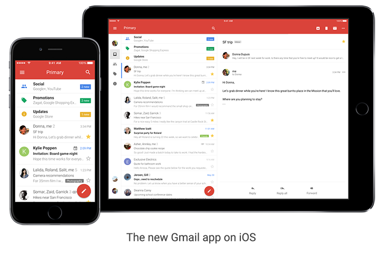 Google Gmail App iPhone Redesign
