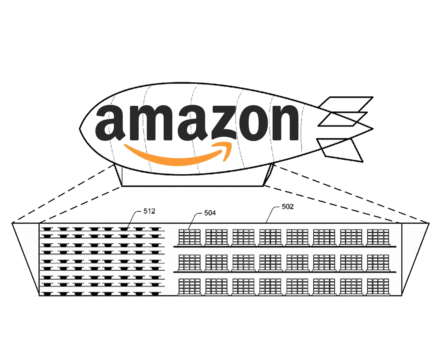 Amazon patented a hovering airship warehouse that shoots out delivery drones
