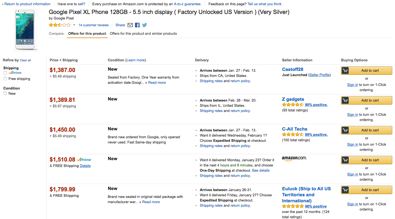 google-pixel-xl-price-amazon
