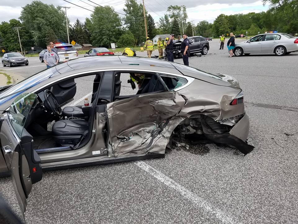 Somehow, everyone walked away from this massive Tesla crash