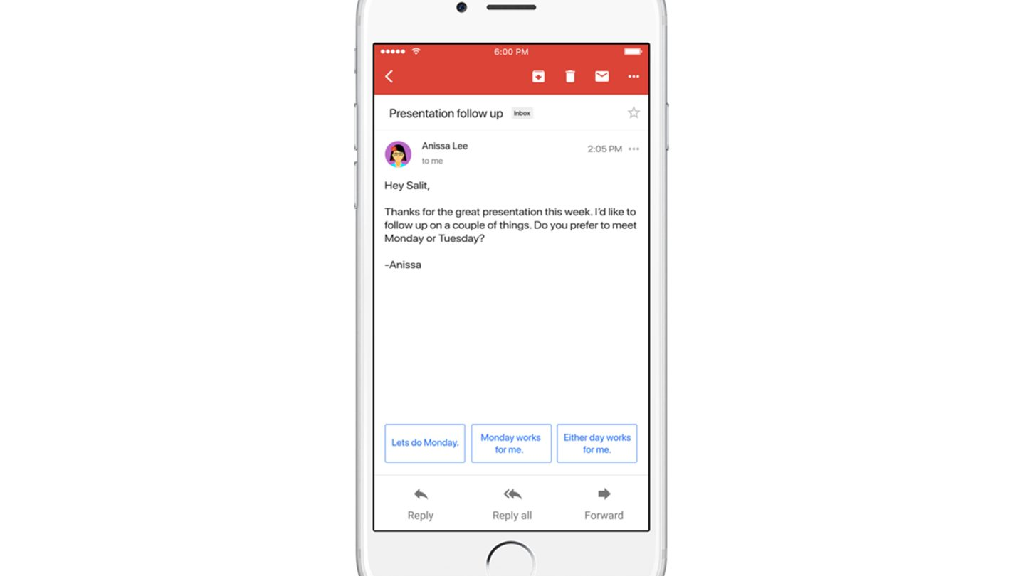Google Smart Reply on iOS and Android