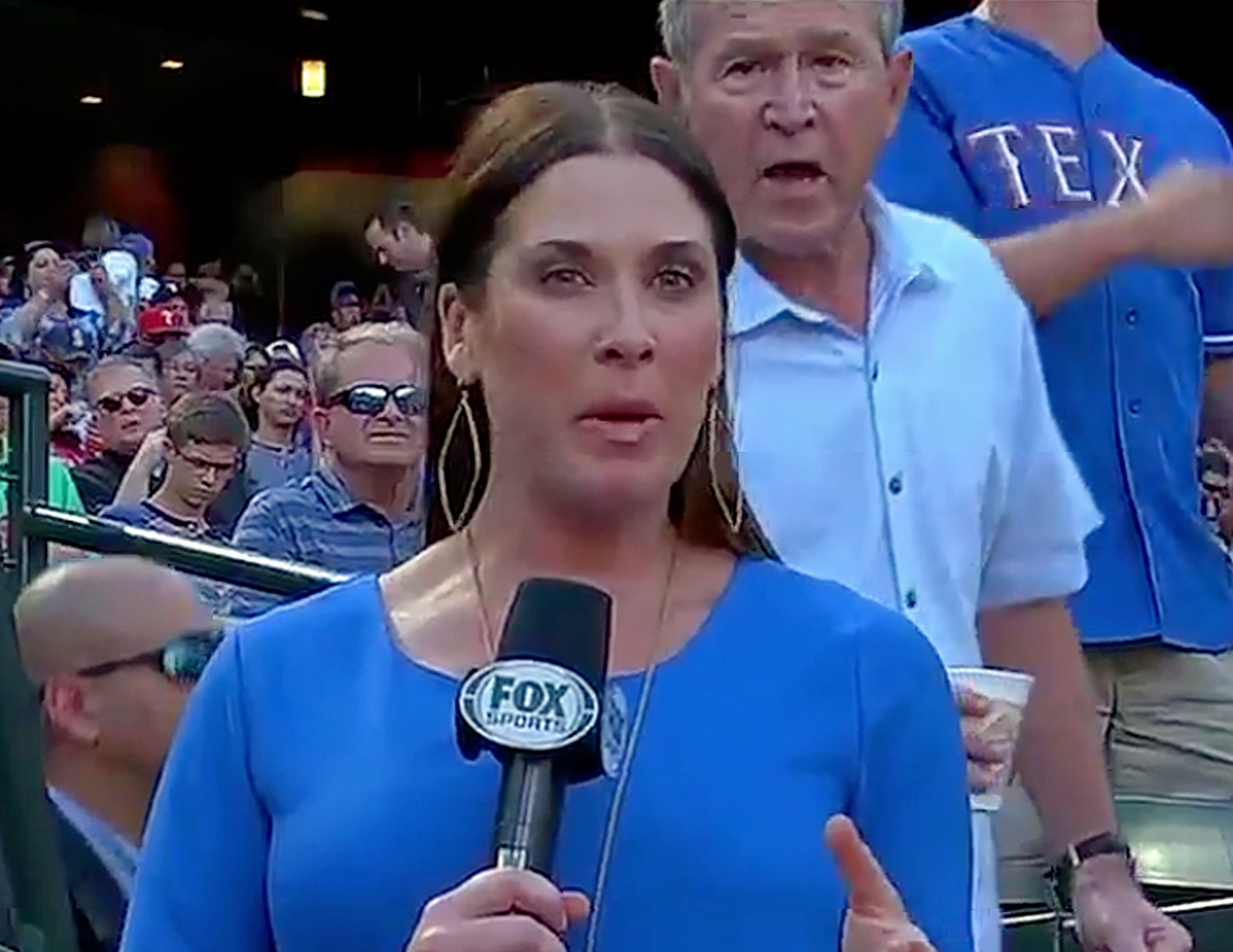 George W. Bush Photobombs Fox Sports Reporter at Texas Rangers Game