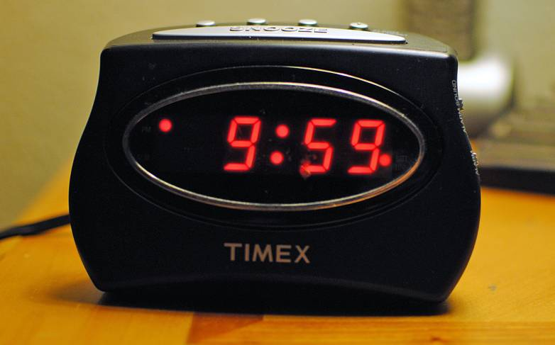 alarm clock in wall