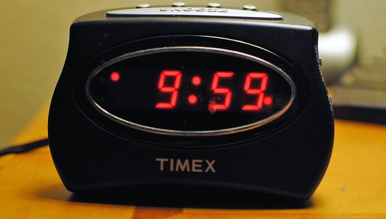 alarm clock in wall