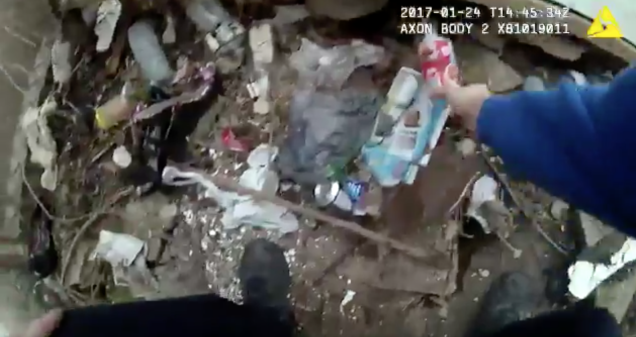 Cops body cam footage shows drug plant,