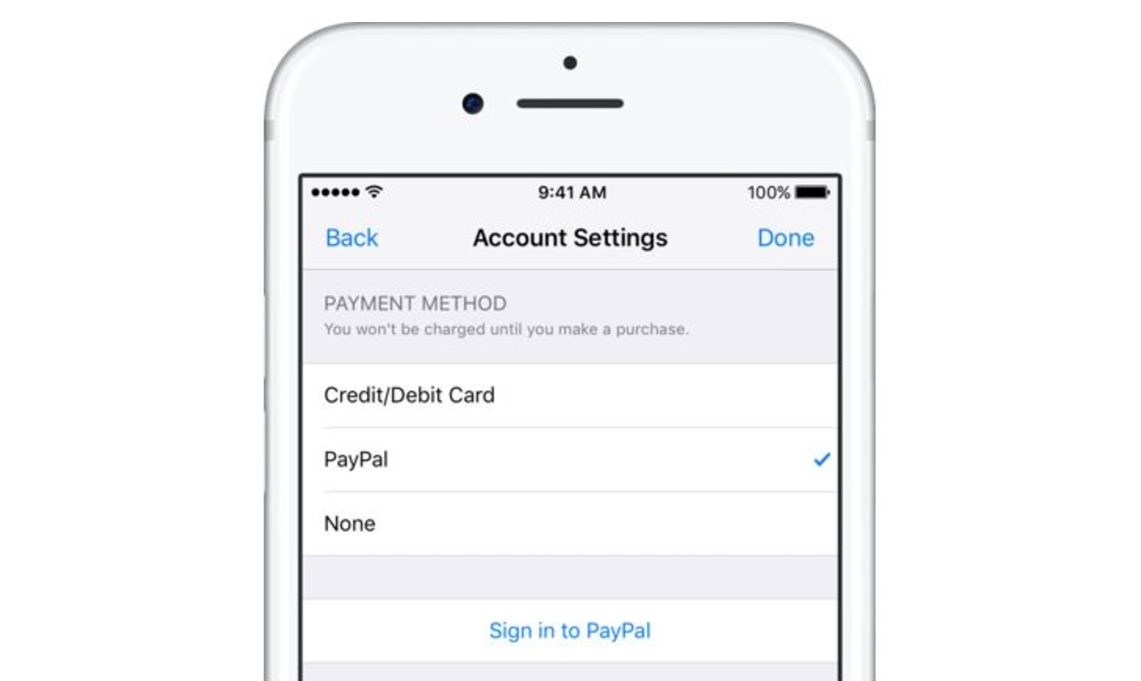 Apple adds PayPal payment method
