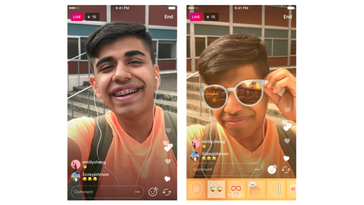 Instagram filters on live streaming video