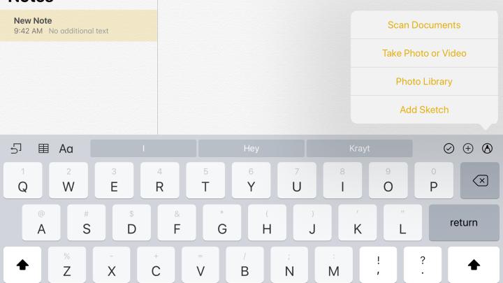 iOS 11 Notes app document scanner