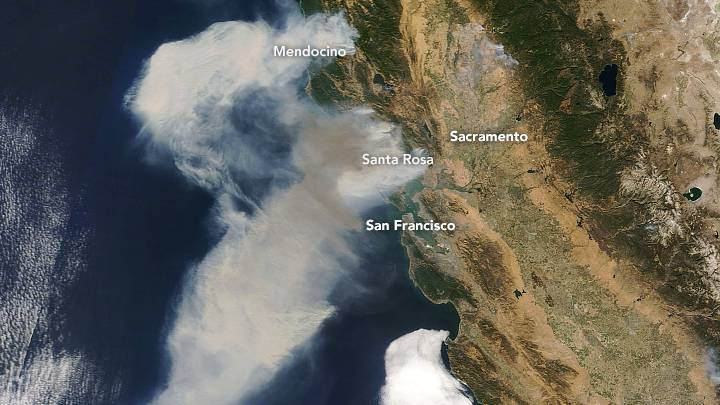 California Napa Fires: images from NASA