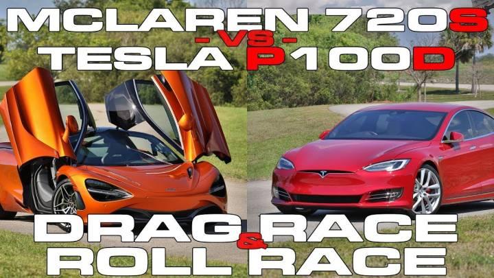 Tesla Model S drag race: P100D vs McLaren 720S