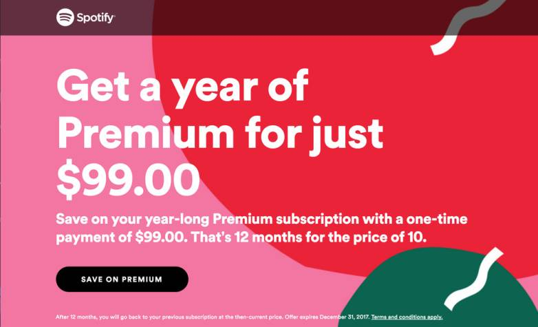 Spotify Premium discount: $20 off