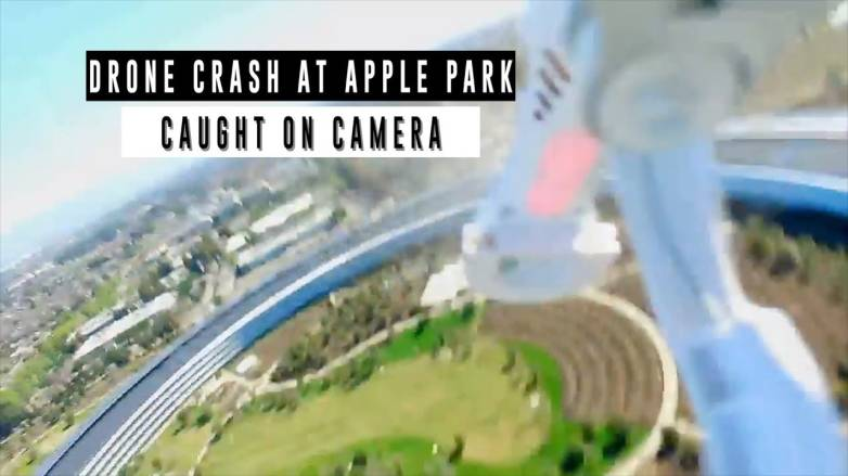 Apple Park drone crash video