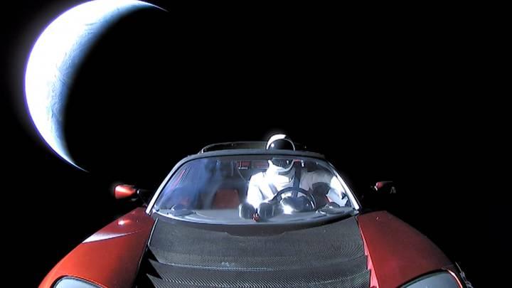 tesla roadster in space