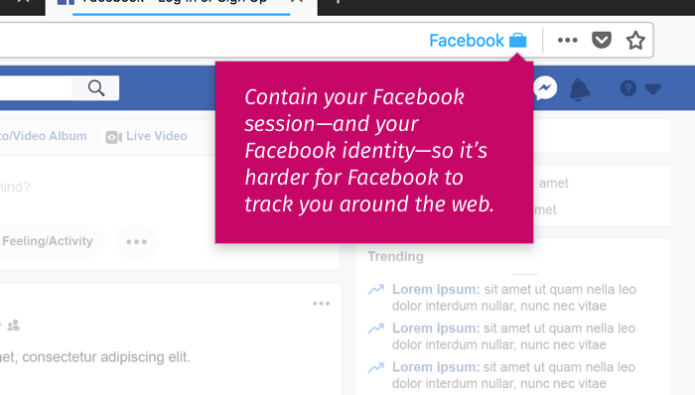 Facebook Container Firefox add-on