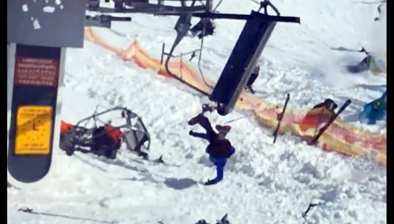 Chairlift weighted rollback accident