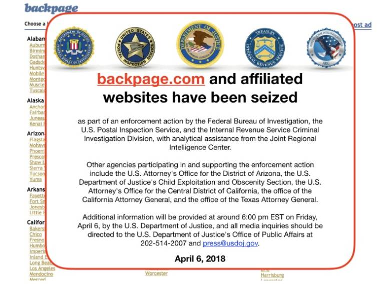 Backpage seized by FBI