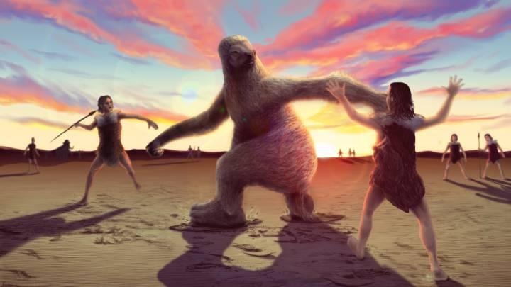giant sloth hunting