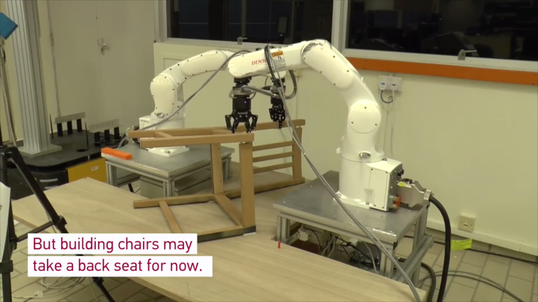 Robot builds IKEA chair