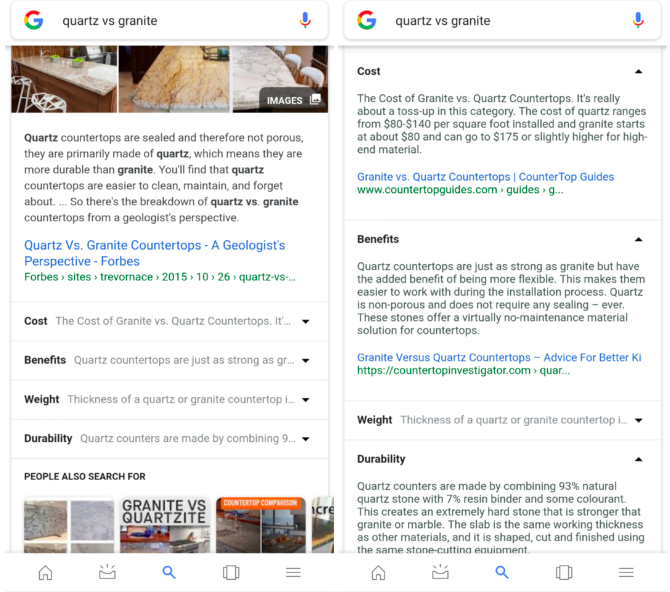 Google search featured snippets