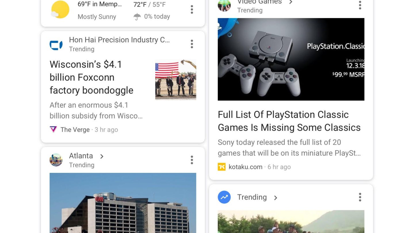 Google Discover mobile rolling out