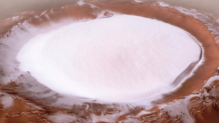 mars snow crater