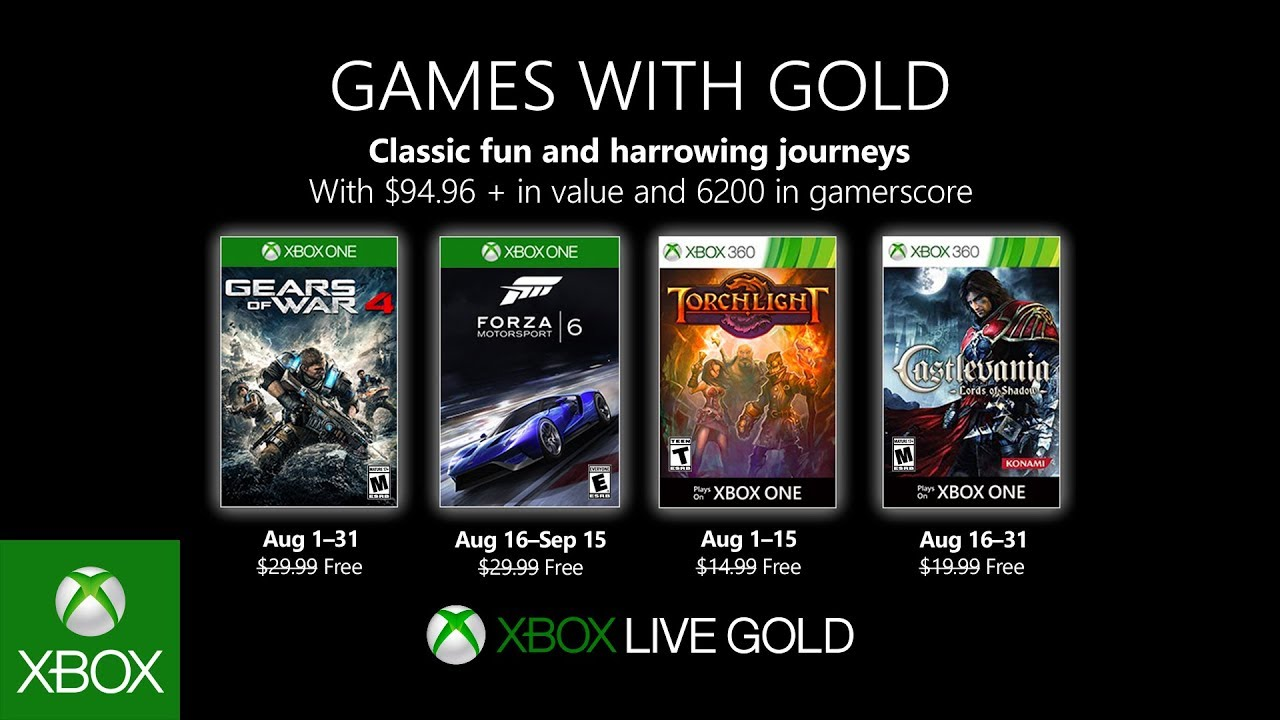 Xbox Games With Gold For August Adds Forza 6 And Gears Of War 4 Bgr