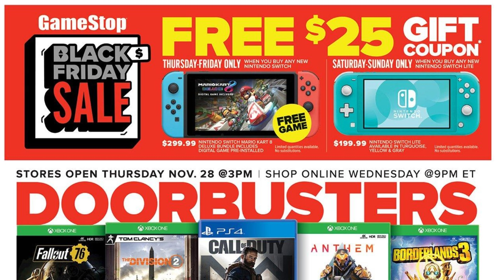 Gamestop Black Friday 2019 Ad Posted Tons Of Switch Ps4 And Xbox One Deals Bgr