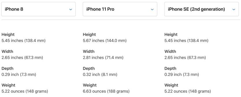 iPhone 8 vs. iPhone 11 Pro vs. iPhone SE