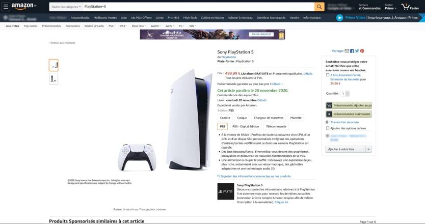 PS5 Price Amazon France