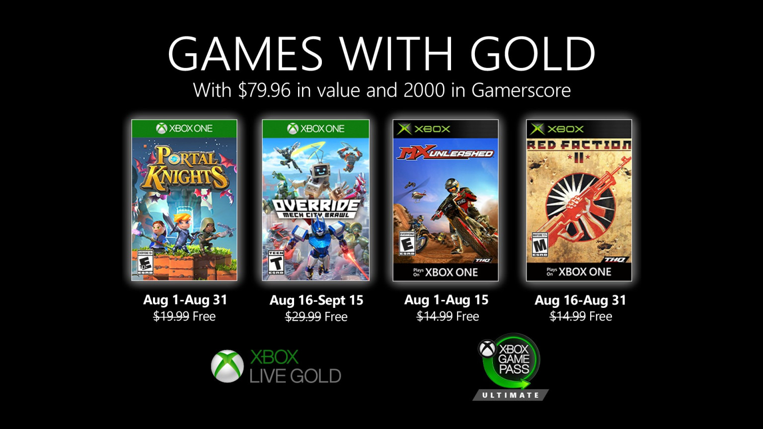 Xbox Gold August 2021