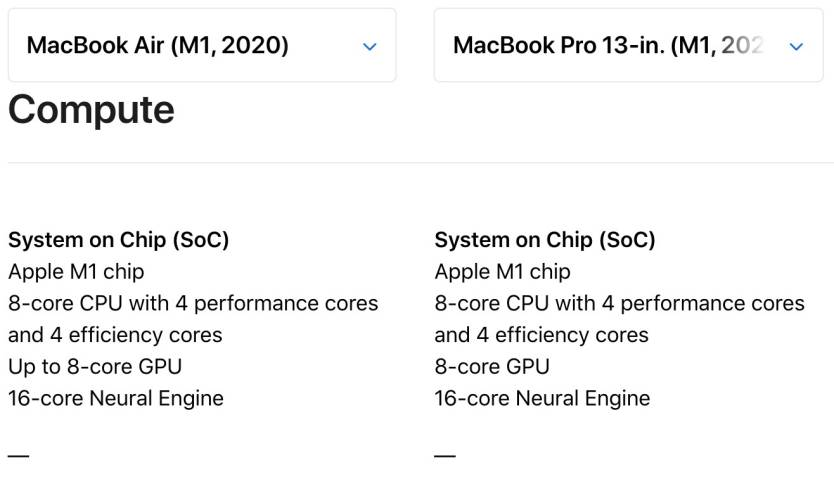 MacBook Air M1 vs. Pro M1
