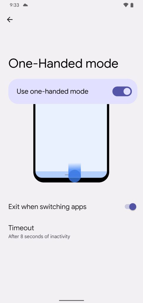 Android 12 One-Handed Mode