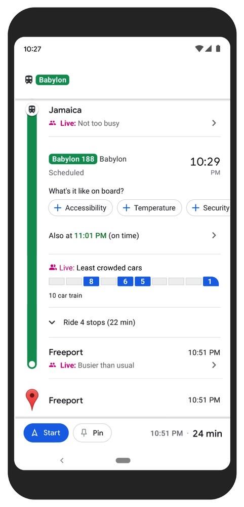 Google Maps Public Transit Crowdedness